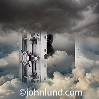 A vault door opens in a cloudscape with a shadowing figure wearing a mask peering out from behind in a photo about security in