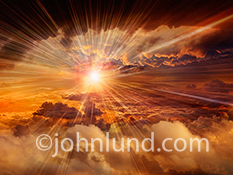 Cloud computing and speed are the primary concepts illustrated in this dynamic image of a high-altitude sunset above the clouds and with the zoom blur streaks that leave the sensation phenomenal forward motion in the connected world of online communicatio