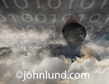 This is an image of a threat to security in the cloud as it shows a faceless hooded figure emerging from a cloud bank with the ones and zeroes of streaming binary code emerging from behind.