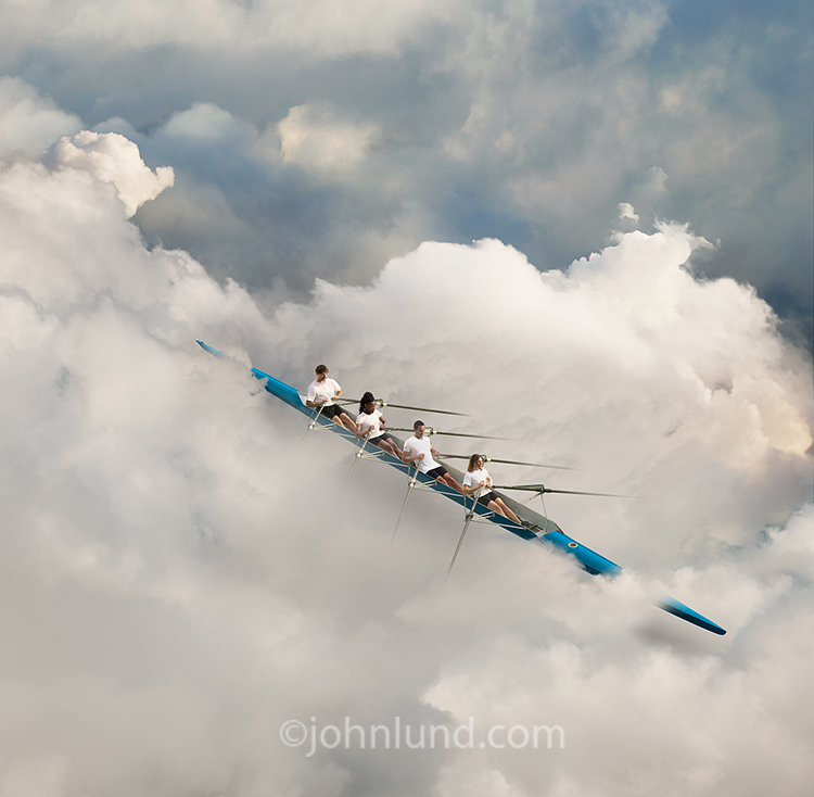 Teamwork in the cloud is the primary concept behind this stock photo that features a scull and crew rowing through clouds in a twist from normal expectations.