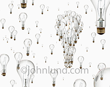 Collective creativity, concept teamwork, and brainstorming ideas are all portrayed innovatively in this image of a field of light bulbs coming together in a team effort at building ideas.