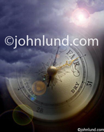 Photo of storm clouds superimposed over a barometer indicating an approaching storm and troubled times in the world.