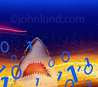 A shark ascends through a sea of binary numbers and streaming data in an image about computer hacking, online threats and network security.