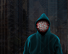 Coronavirus and Covid-19 threats are illustrated in this stock photo of a Covid19 molecule wearing a hoodie against an urban background.