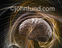 In this picture the human brain is in creative action surrounded by waves and vortexes of energy and thoughts illustrating science, neuro research and creativity.