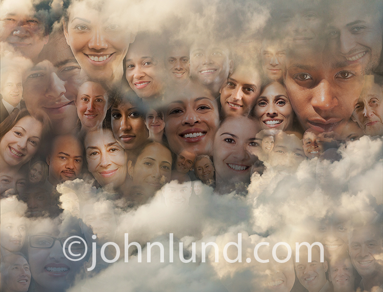 Social media, cloud computing and global communications are all illustrated in this stock photo of faces in a cloud bank.