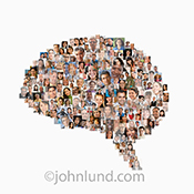 The crowd mind is seen in this image of a human brain-shaped composite created from numerous individual portraits.