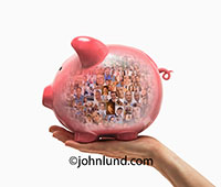 A hand holds up a piggy bank filled with the faces of a crowd of people in an image representing crowd sourcing and crowd funding.