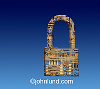 Cyber security is clearly portrayed in this stock photo of a padlock created from computer circuitry shown against a business blue graduated background.