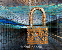 This cyber security padlock stock photo combines computer circuitry in the shape of a padlock against a background of binary numbers and colored light trails representing streaming data, connections and networking.