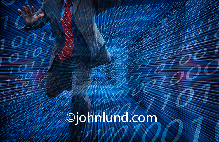 A businessman runs down a corridor of binary numbers in an image about escape from the digital world and future technology and that can be used to promote and advertise products and services that will enhance both the digital experience and master future