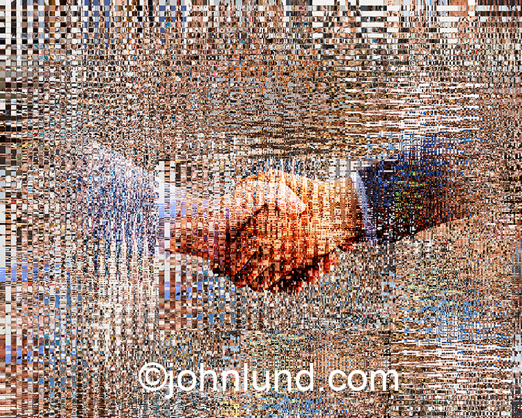 A networked  handshake, this stock photo features two hands shaking embedded in a background of streaming information and data packets creating a high tech, futuristic image of teamwork, agreement, and success.