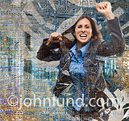 Disruptive technology breakthroughs are dramatically shown in this stock photo of a woman smashing through computer circuitry.