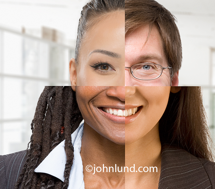 Diversity is shown in this portrait stock photo divided into four quadrants each of a different ethnicity including Asian, African, Caucasian and Hispanic.