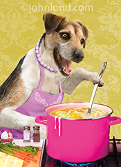 Mothers day pictures in our Animal Antics collection of anthropomorphic pet photos includes this fun picture of a terrier stirring a pot of soup made with only the kind of love a mother can bring.