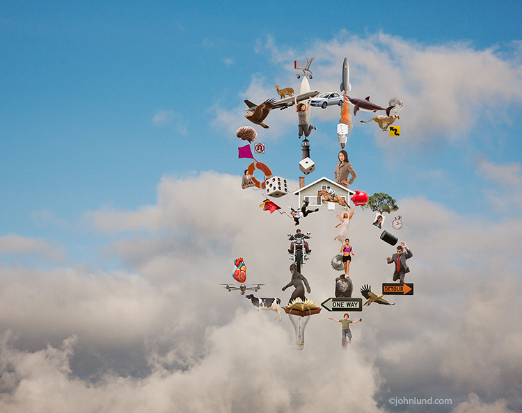 Various objects come together to form a dollar sign in the clouds in a stock photo that is a metaphor for the pervasive nature of cloud computing and to bring visual representation to the wide variety of ways in which cloud computing affects our lives on