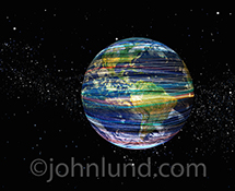Colored light trails wrap around the planet in this stock photo about global and future communications technology.