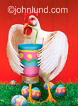 Funny animal antics picture and stock photo of a chicken drinking through a straw with easter eggs in the background.