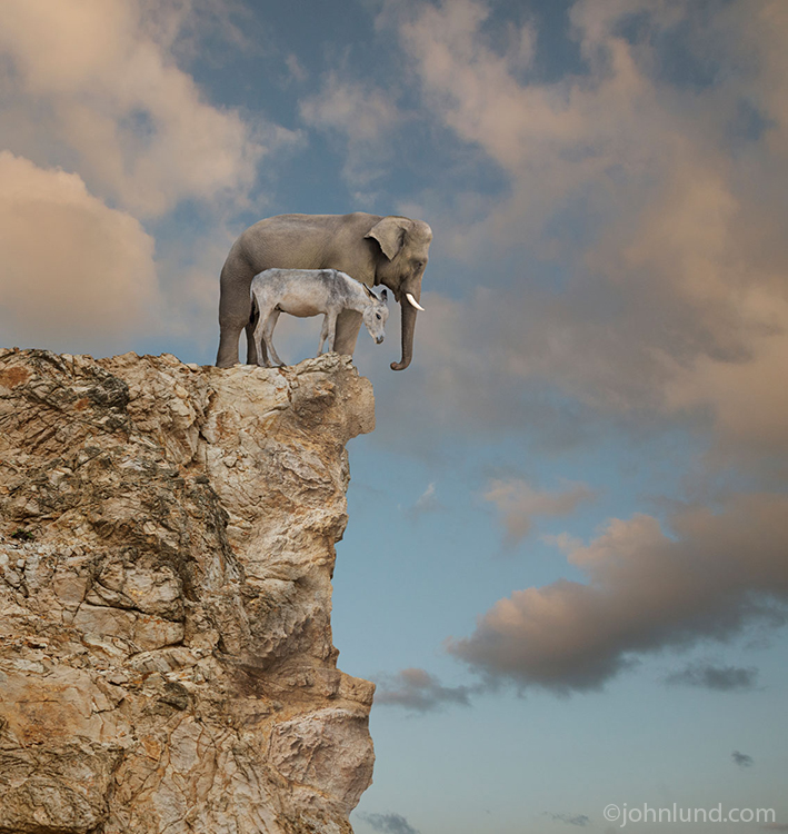 An elephant and a donkey stand together peering down over the edge of a cliff in this funny political look at Republicans and Democrats as they push the limits of good sense in a stand-off that threatens to damage the prosperity of America.