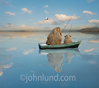 Two anthropomorphic elephants fish in a row boat on a placid lake as a single Egret flies overhead in a humorous animal stock photo and greeting card image.