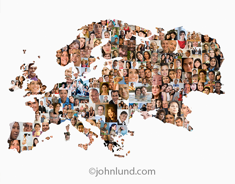 A map of Europe is filled with over a hundred faces, each model released, in an image about social media, demographics, and the population of Europe.
