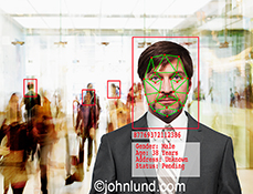 Facial recognition, and facial recognition software, are the primary concepts in this image of a man's face with facial recognition software markings overlaid.