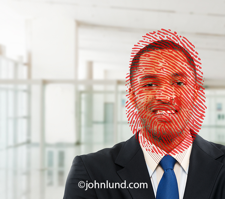 A red fingerprint overlays a man's face in an image about facial recognition and security issues.