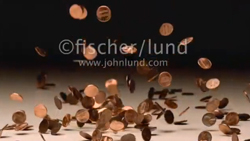 Super slow motion video of pennies falling and bouncing in a torrent of money filling the frame with careening cash in a HD motion stock clip.