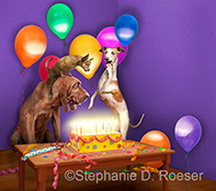 A Bloodhound, Chihuahua and Whippet stare in amazement at a fiery birthday cake alight with hundreds of candles in this humorous animal picture by Stephanie D. Roeser.