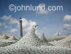 Financial planning and guidance are playfully illustrated in this photo illustration image of a lighthouse rising above a sea of dollars.