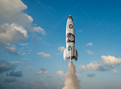 The financial markets take off in this stock photo of a rocket, multiple-exposed with a dollar bill, takes off to new heights where the sky is the limit.