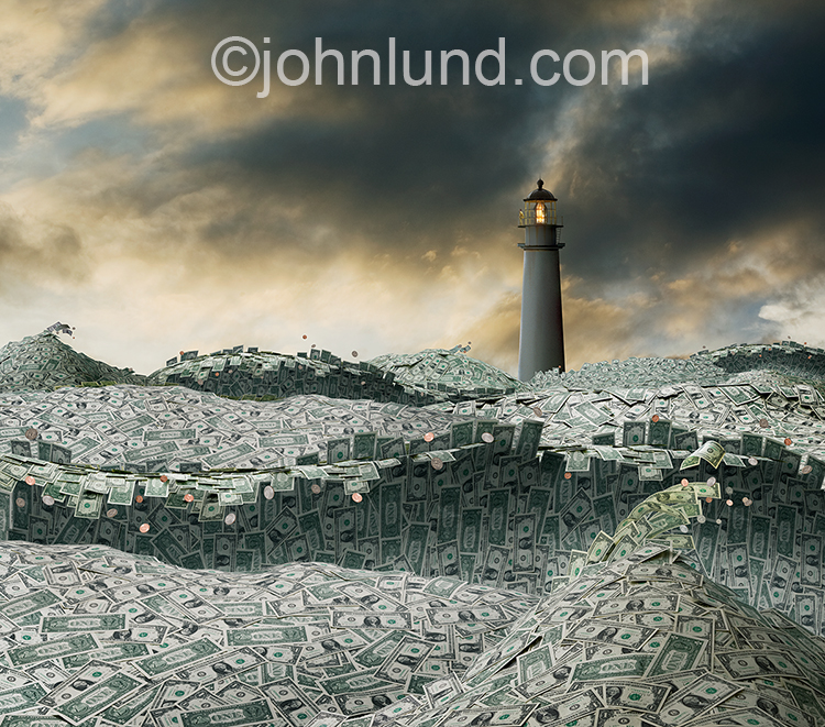Financial guidance and planning are indicated by this image of turbulent waves of dollars beneath a lighthouse and stormy skies; a sea of money with a lighouse for guiding the way to financial success.