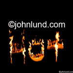 The word hot in flames against a black background. Stock photo of flames spelling out the word HOT.  The word
