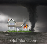 A house, surrounded by flood waters and with a tornado raging ever closer, has flames shooting out of a window in a visual metaphor for all manner of threats to home owners everywhere!