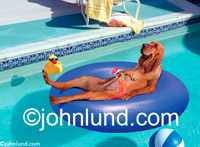 Funny Picture of a Bloodhound floating in a pool on a rubber raft and enjoying a tropical drink as he relaxes. Dogs in the pool with floatie toys.
