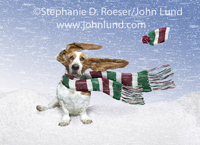 A bored looking Basset Hound sits in a snow storm with his muffler blowing in the wind and his winter hat flying off in a funny Christmas Dog Photo.