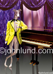 Picture of a Greyhound in a Vegas style lounge, a dog lounge lizard, standing next to a grand piano and wearing a tux.