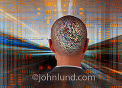 Future business connections, technology, speed and even artificial intelligence can all be illustrated with this stock photo of a businessman from behind, his brain filled with electrical activity and with technology stream past him.
