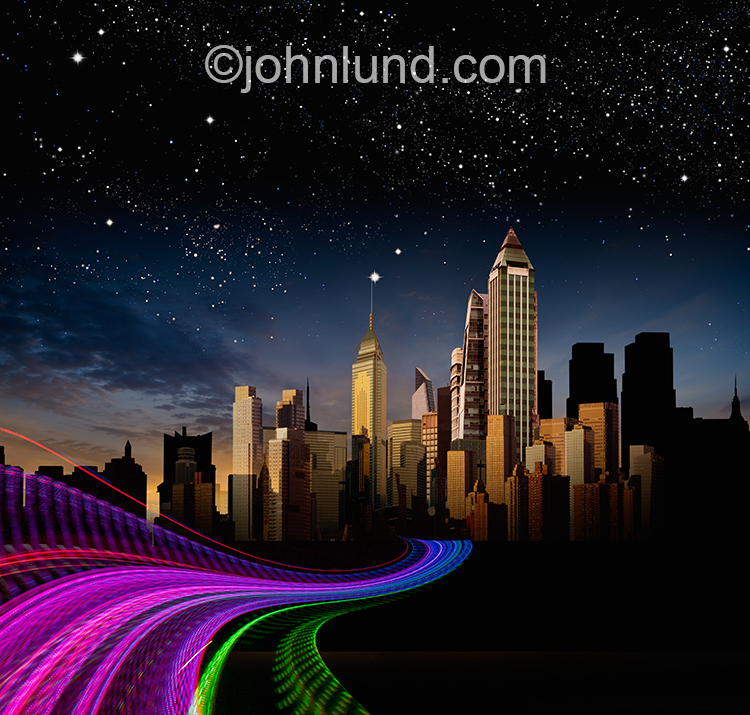 A twisting highway of lights leads into the silhouette of a futuristic city in this image about communications technology, the future, and connections.