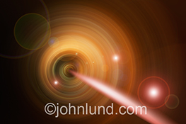 A streak of light flows through a conduit in a futuristic image about science, research and communications technology in a stock photo showing connection and networking.