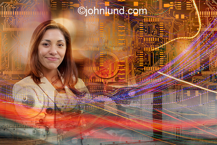 Woman in science is the concept behind this stock image of a woman's portrait combined with circuity, light trails and research facilities.
