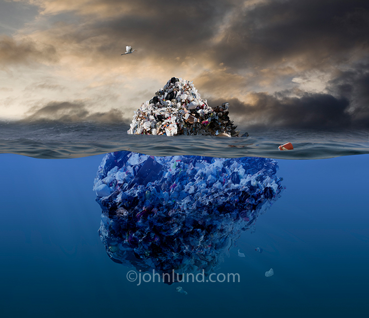 A garbage iceberg floats in the ocean beneath approaching storm clouds in an image addressing the concerns of garbage and plastic pollution in our oceans.