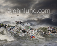 Tidal wave filled with garbage in a conceptual piece about environmental issues, pollution and global ecological issues.
