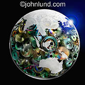 A global glass spherical map of the earth is filled with colorful gears in this stock photo about international and world wide infrastructure.