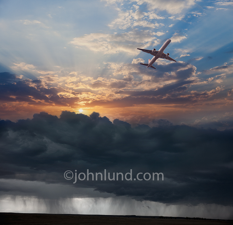 A commercial jet flies high over storm clouds on its flight to better times and better weather in a photo illustrating getting away from it all.