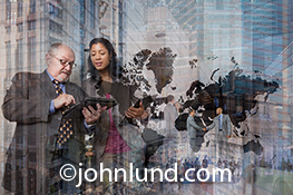 Global business, connections and teamwork are the primary concepts illustrated by this image that combines several sets of executives interacting against a backdrop of high rise office buildings, retail centers and corporate offices.