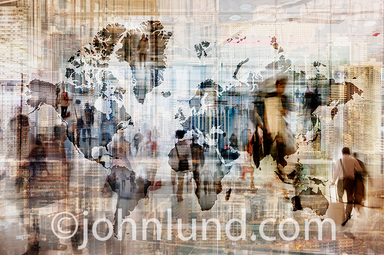 Global commerce in action is visually represented in this stock photo combining a global map of the continents with people in motion and architectural elements in a digital composite filled with movement and activity.