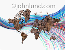 A globally connected network is skillfully demonstrated in this stock photo of a map of the continents filled with faces and connected by colored streaming Light trail against a white background.
