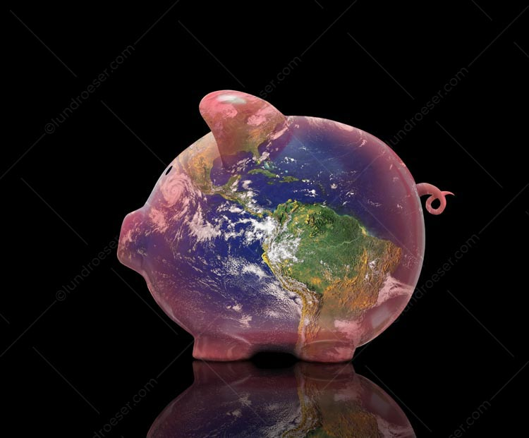 A global piggy bank, this stock photo features a pink piggy bank superimposed with the planet earth, on a black background.