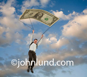 Picture of a man with a golden parachute. The man is parachuting down in the sky with clouds in the background. His parachute is a giant one dollar bill representing a golden parachute